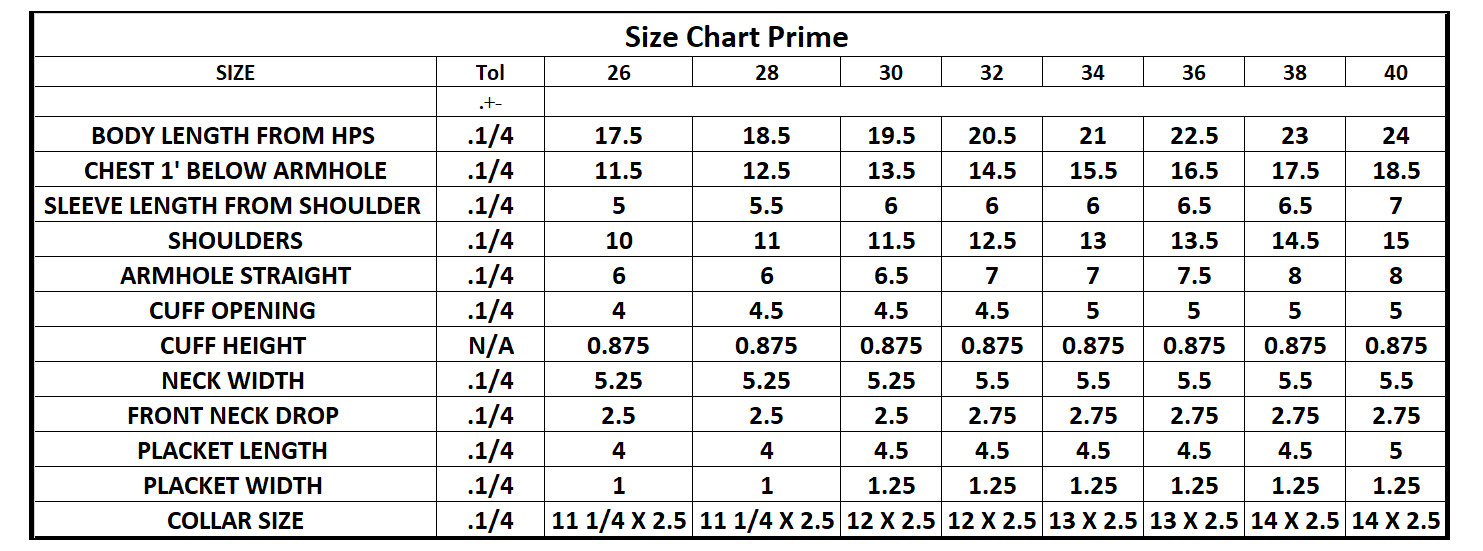 Measurement Chart – DCT